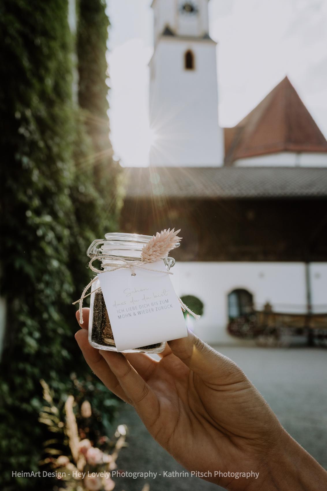 HeimArt Design Papeterie Mohnblumen Chiemsee Hochzeit Gastgeschenk Gut Ising